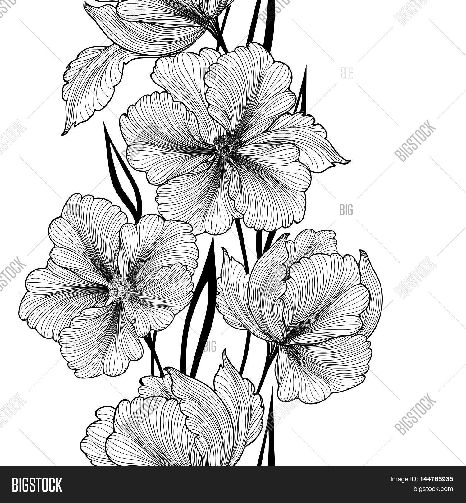 Black white flower vector photo free trial bigstock black and white flower pattern flourish vertical bouquet garland background floral seamless texture mightylinksfo