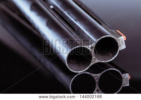 Shotgun Barrel On Black