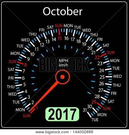 year 2017 calendar speedometer car in vector. October.