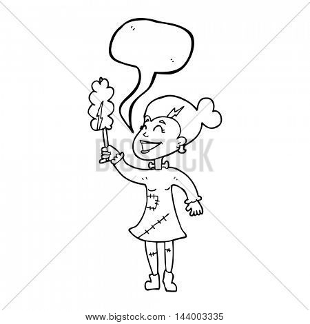 freehand drawn speech bubble cartoon undead monster lady cleaning