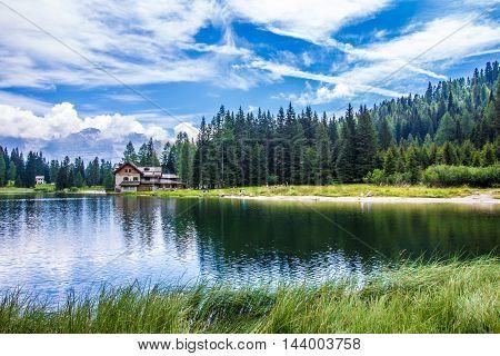 The lake Nambino in the Alps near Madonna di Campiglio Trentino Italy
