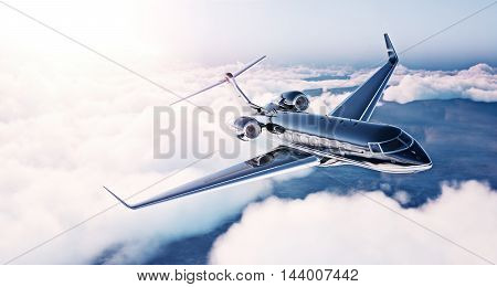 Image of black luxury generic design private jet flying in blue sky at sunrise. Huge white clouds background. Business travel concept. Horizontal . 3d rendering