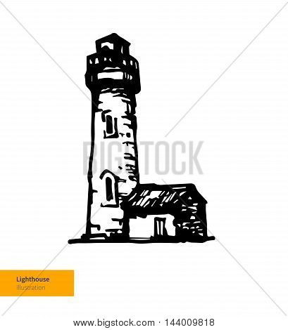 Vector Iluustration. Hand Drawn Sea Lighthouse. Black on White Background.