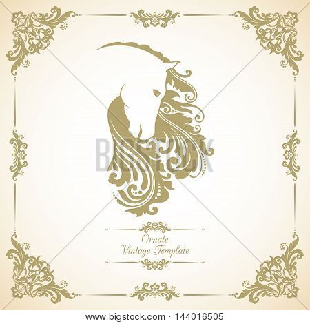 Vintage template with ornament and decorative horse. Symbol of 2014
