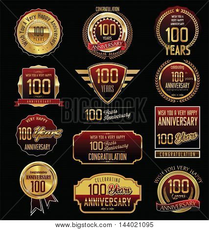 Anniversary 100 years retro vintage badges and labels vector