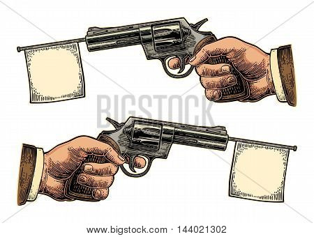 Male hand holding revolver with flag for text. Vector engraving vintage illustrations. Isolated on white background. For tattoo web shooting club and label