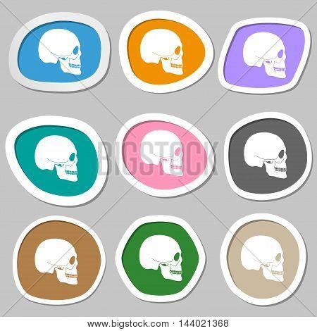 Skull Symbols. Multicolored Paper Stickers. Vector