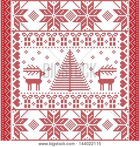 Scandinavian Printed Textile  style and inspired by  Norwegian Christmas and festive winter seamless pattern in cross stitch with Christmas tree, snowflakes, gifts, reindeer,  hearts and ornaments
