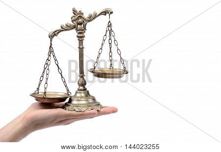 Holding Decorative Scales of Justice isolated law and justice concept