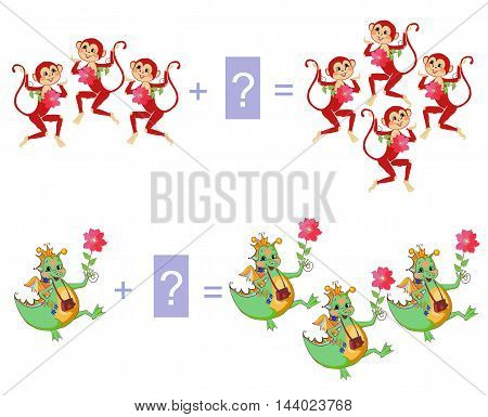 Educational game for children. Examples with cute colorful monkeys and dino. Cartoon illustration of mathematical addition. Vector image.