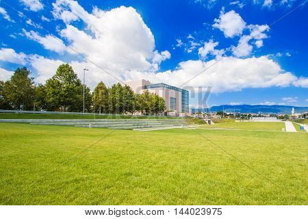 Zagreb, Croatia, August 12th 2016: New public park and building of national and university library in Zagreb, modern architecture, glass facade