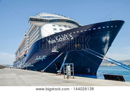 Ibiza Spain - June 3 2016: Cruise liner Mein Schiff 3 of TUI Cruises anchored in the harbour of Ibiza Town.