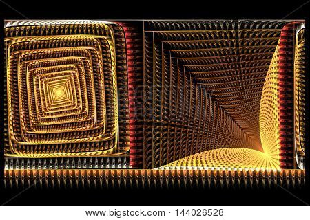 abstract square yellow Golden with red fractal computer-generatrd image