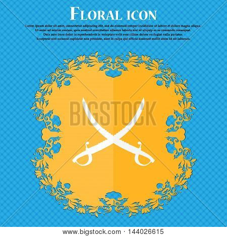 Crossed Saber Icon. Floral Flat Design On A Blue Abstract Background With Place For Your Text. Vecto