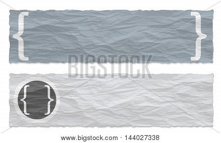 Two colored banners of crumpled paper and square brackets
