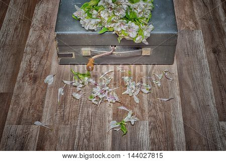 Vintage turntable vinyl record player and withered flowers on wooden floor, HDR image