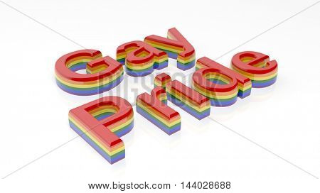 3d rendering words gay pride writen on white background