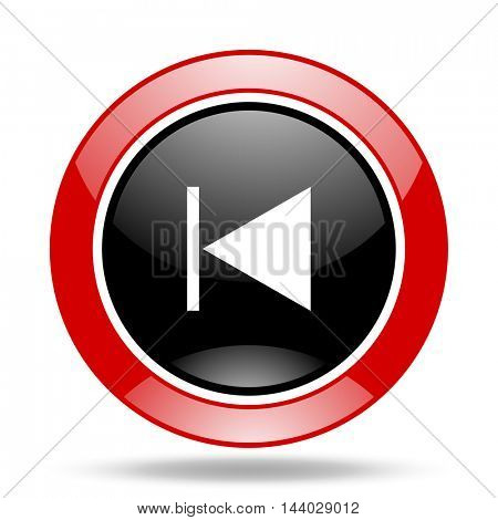 prev round glossy red and black web icon