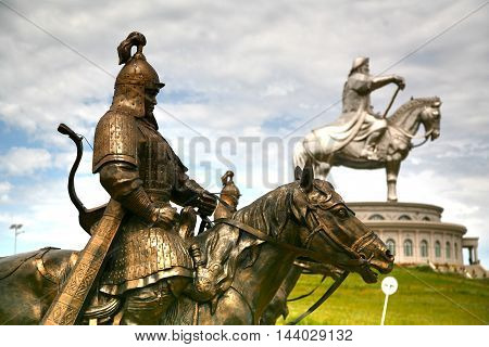 Ulaanbaatar Mongolia July 3 ,2016 : Genghis Khan Statue Complex is a 40-metre tall statue of Genghis Khan on horseback, at Tsonjin Boldogeast of the Mongolian capital Ulaanbaatar