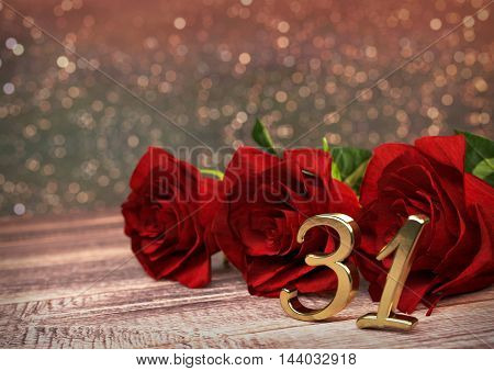 birthday concept with red roses on wooden desk. 3D render - thirty-first birthday. 31st