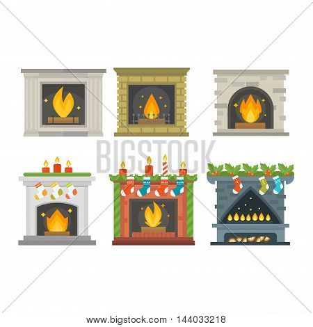 Set of vector fireplace icons and fireplace design. Fireplace house room warm christmas silhouette. Fireplace flame bright decoration coal furnace. Comfortable warmth fireplace collection.