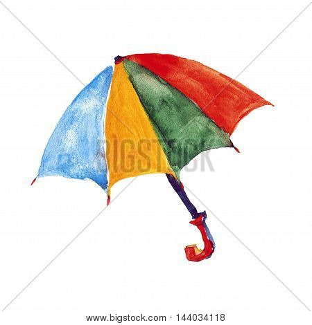 Watercolor image of parasol Hand drawn picture
