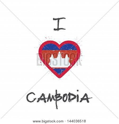 I Love Cambodia T-shirt Design. Cambodian Flag In The Shape Of Heart On White Background. Grunge Vec