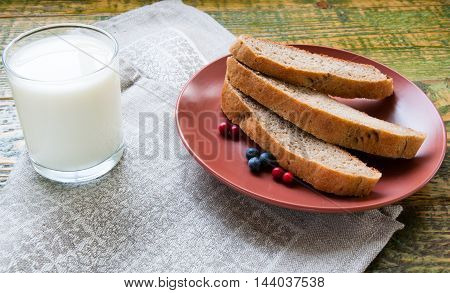 Glass Of Milk With Chopped Homemade Bread On Clay Plate