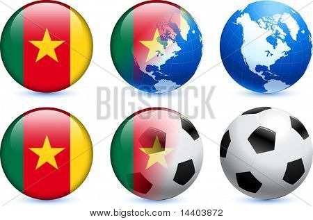 Cameroon Flag Button with Global Soccer Event Original Illustration poster