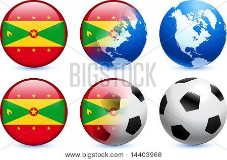 Grenada Flag Button with Global Soccer Event Original Illustration poster