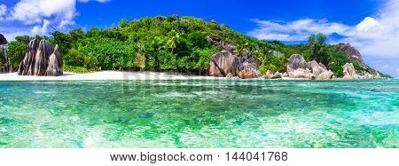 Most beautiful tropical beach - Anse source d'argent in La digue island, Seychelles