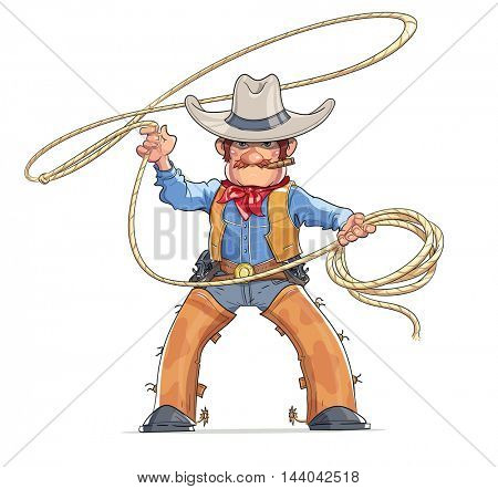 Cowboy. Western character. Boy in American traditional costume with lasso. Rodeo. Cartoon personage. Vector illustration. Isolated white background
