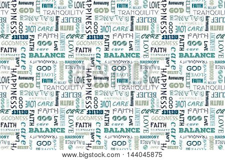 Navy blue seamless pattern with words: love, peace, balance, happiness, faith, God, belief, care, goodness, tranquility, harmony. Vector illustration. Transparent background.
