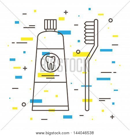 Dental Toothbrush With Toothpaste Tube Linear Vector Illustration