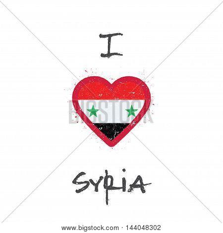 I Love Syrian Arab Republic T-shirt Design. Syrian Flag In The Shape Of Heart On White Background. G