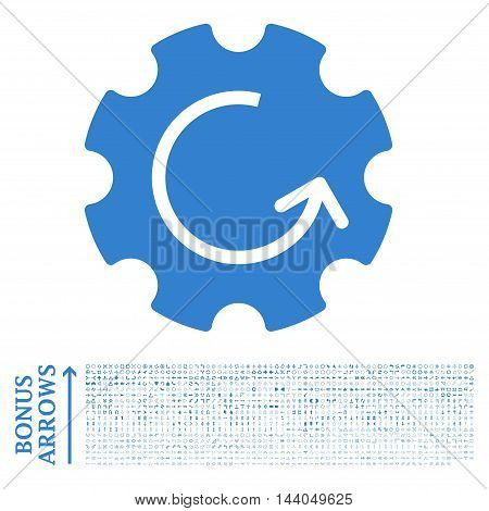 Gear Rotation icon with 1200 bonus arrow and direction pictograms. Glyph illustration style is flat iconic symbols, cobalt color, white background.