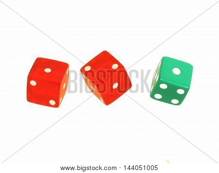 Three, bright  red and green floating dice