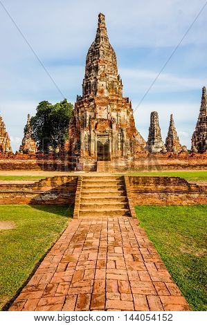 Ruin brick temple in Thailand, WATCHAIWATTANARAM, AYUTTAYA
