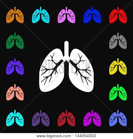 Lungs Icon Sign. Lots Of Colorful Symbols For Your Design. Vector