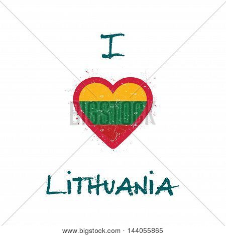 I Love Lithuania T-shirt Design. Lithuanian Flag In The Shape Of Heart On White Background. Grunge V