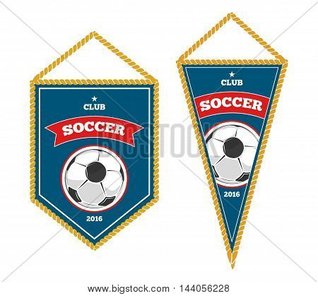Soccer pennants isolated white. Badge for sport club. Vector illustration