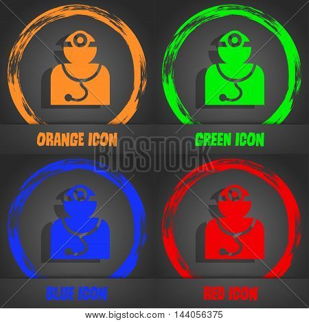 Doctor With Stethoscope Around His Neck Icon. Fashionable Modern Style. In The Orange, Green, Blue,