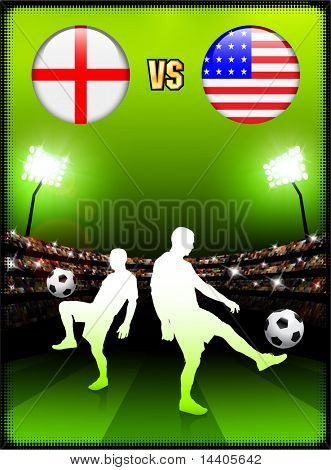 England versus USA on Stadium Event Background Original Illustration poster