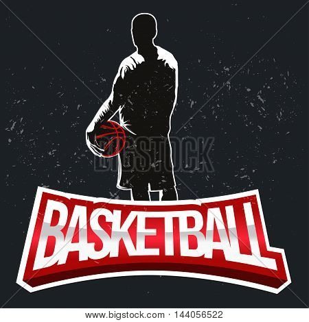Basketball tournament label in vintage halftone style - stock vector