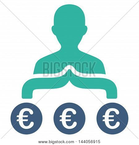Euro Capitalist icon. Vector style is bicolor flat iconic symbol with rounded angles, cobalt and cyan colors, white background.