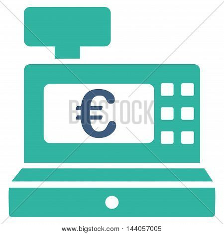 Euro Cashbox icon. Vector style is bicolor flat iconic symbol with rounded angles, cobalt and cyan colors, white background.