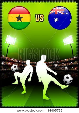 Ghana versus Australia on Stadium Event Background Original Illustration poster