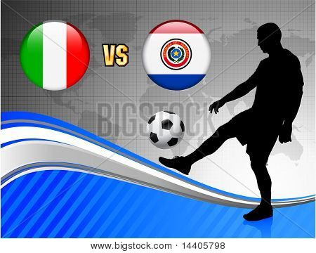 Italy versus Paraguay on Blue Abstract World Map Background Original Illustration poster
