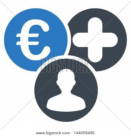 Euro Medical Expences icon. Vector style is bicolor flat iconic symbol with rounded angles, smooth blue colors, white background.