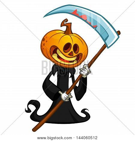 Cartoon pumpkin head monster. Vector pumpkin reaper in black hood with scythe isolated on white